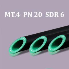 Tubo in barre PP-R/Alluminio + guaina nera UV MT.4 PN 20
